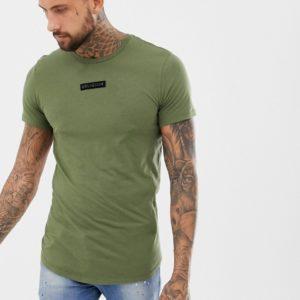 Religion – T-Shirt in Khaki mit Logoaufnäher und abgerundetem Saum – Grün