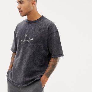 The Couture Club – Übergroßes T-Shirt in schwarzer Acid-Waschung – Schwarz