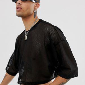 ASOS DESIGN – Kurzes T-Shirt aus schwarzem Netzstoff – Schwarz
