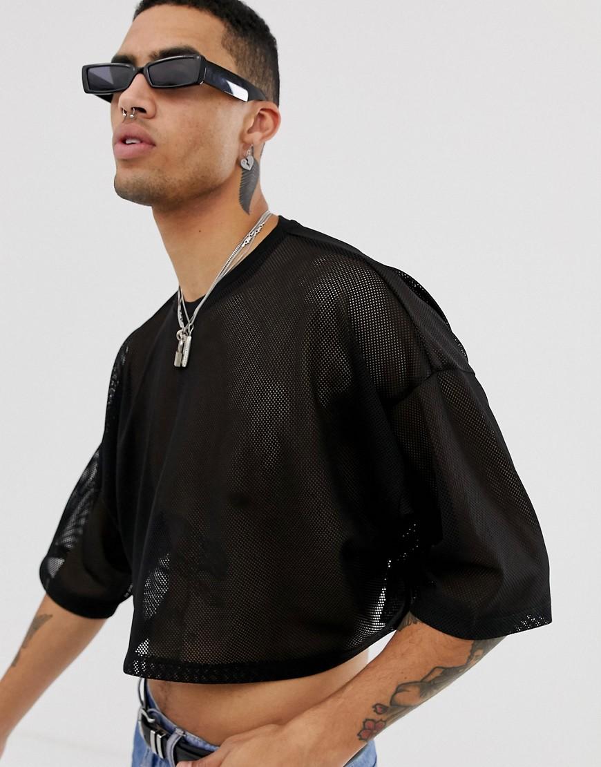 546603f1c66298 ASOS DESIGN - Kurzes T-Shirt aus schwarzem Netzstoff - Schwarz - Der ...