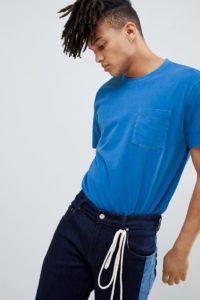 Weekday - Anton - Blaues T-Shirt mit Tasche - Blau - Farbe:Blau