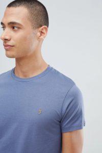 Farah - Farris - Schmales T-Shirt mit Logo in Blau - Blau - Farbe:Blau