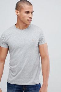 Farah - Farris - Schmales T-Shirt mit Logo in Grau