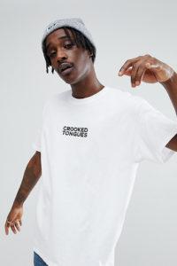 Crooked Tongues - Weißes T-Shirt mit Logoprint - Weiß - Farbe:Weiß