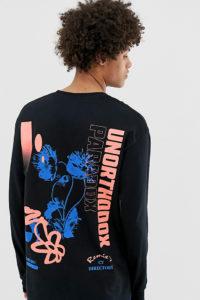 Crooked Tongues - Langärmliges Shirt mit ungewöhnlichem Blumenmuster - Schwarz - Farbe:Schwarz