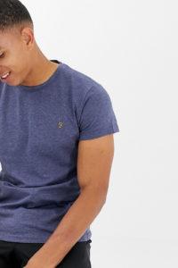 Farah - Gloor - Blau meliertes T-Shirt mit Logo