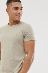 Farah - Gloor - Schmales T-Shirt in Sand meliert