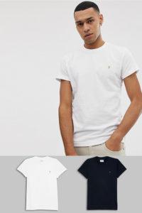 Farah - 2er-Set T-Shirts in Schwarz/Weiß - Schwarz - Farbe:Schwarz