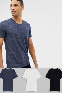 Hollister - 3er-Pack schmal geschnittene T-Shirts mit V-Ausschnitt und Möwenlogo in Schwarz/Grau/Marine - Mehrfarbig - Farbe:Mehrfarbig