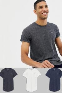 Hollister - 3er-Pack T-Shirts mit abgerundetem Saum und Möwenlogo in Weiß/Marine/Grau - Mehrfarbig - Farbe:Mehrfarbig
