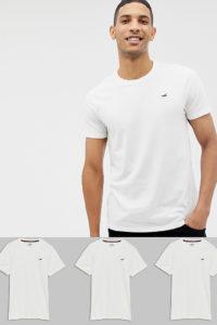 Hollister - 3er-Pack T-Shirts mit Rundhalsausschnitt und Möwenlogo