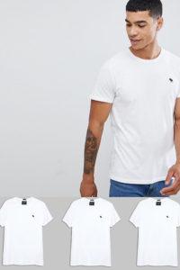 Abercrombie & Fitch - 3er-Pack weiße T-Shirts mit Rundhalsausschnitt und Logo - Weiß - Farbe:Weiß