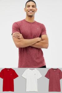 Hollister - 3er-Pack T-Shirts mit Symbollogo in Weiß/Rot/Burgund - Mehrfarbig - Farbe:Mehrfarbig