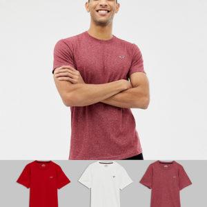 Hollister – 3er-Pack T-Shirts mit Symbollogo in Weiß/Rot/Burgund – Mehrfarbig