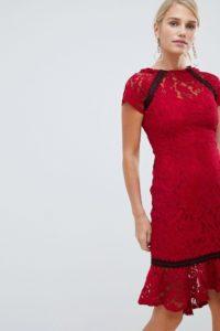 Paper Dolls - Elegantes Kleid mit Rüschensaum aus Spitze - Rot - Farbe:Rot