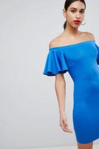 Flounce London - Minikleid mit Carmenausschnitt und ausgestellten Ärmeln - Blau - Farbe:Blau