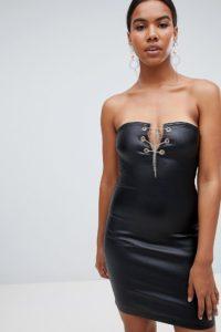 Missguided - Beschichtetes Jeanskleid - Schwarz - Farbe:Schwarz