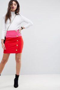 ASOS - Minirock mit Blockfarben und Knöpfen - Rot - Farbe:Rot