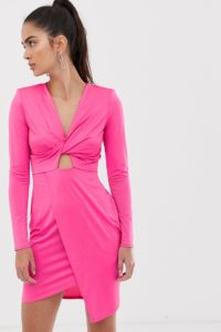 Flounce London - Fuchsienfarbiges Mini-Wickelkleid aus Satin - Rosa - Farbe:Rosa