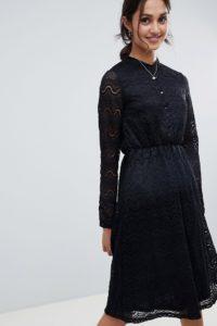 Yumi - Hemdkleid aus Spitze - Schwarz - Farbe:Schwarz