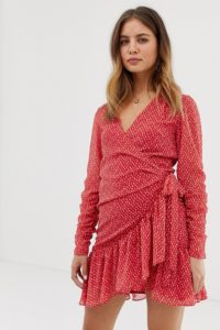 AllSaints - Flores - Minikleid mit Herzprint - Rot - Farbe:Rot