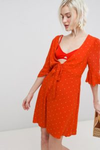 Free People - All Yours - Minikleid mit Taillenschnürung - Rot - Farbe:Rot