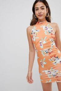 Missguided - Bedrucktes Neckholder-Kleid - Orange - Farbe:Orange