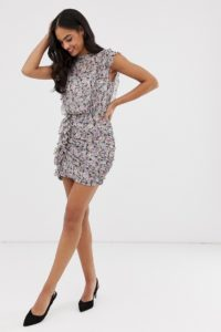 AllSaints - Hali - Gemustertes Minikleid - Violett - Farbe:Violett