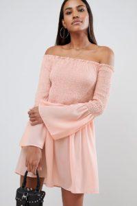 Missguided - Ausgestelltes Bardot-Kleid - Rosa - Farbe:Rosa