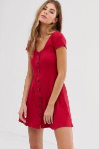 Hollister - Geripptes Minikleid - Rot - Farbe:Rot