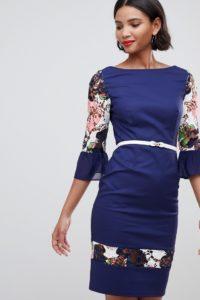 Paper Dolls - Bloom - Kleid mit geblümten Ärmeln - Navy - Farbe:Navy