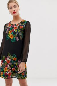 Yumi - Etuikleid mit tropischem Muster am Saum - Mehrfarbig - Farbe:Mehrfarbig