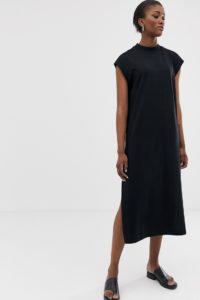 Weekday - Ärmelloses schwarzes Midikleid aus Jersey - Schwarz - Farbe:Schwarz