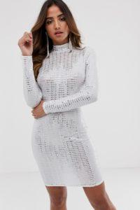 Flounce London - Auffälliges Minikleid in Weiß-Metallic - Weiß - Farbe:Weiß