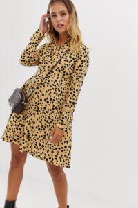Wednesday's Girl - Skaterhemdkleid mit Dalmatinerpunkten - Beige - Farbe:Beige