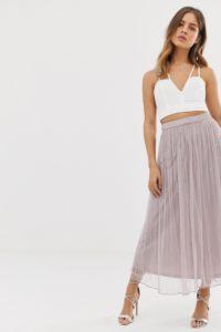 Amelia Rose - Verzierter Maxi-Tüllrock in zartem Malventon - Violett - Farbe:Violett