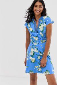 Free People - Alora - Kleid mit Blumenmuster - Blau - Farbe:Blau