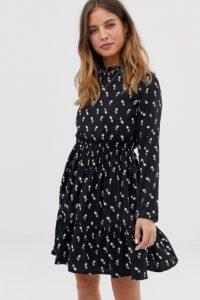 Yumi - Langärmliges Hemdkleid mit Tulpen-Print - Schwarz - Farbe:Schwarz
