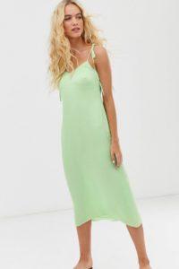 Other Stories - Salbeigrünes Kleid mit gebundenen Trägern - Grün - Farbe:Grün