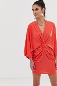 Flounce London - Satin-Minikleid in Rostbraun im Kimonostil mit Wickeldesign - Braun - Farbe:Braun
