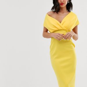 ASOS DESIGN – Schulterfreies Midi-Bleistiftkleid mit Schnürung – Gelb