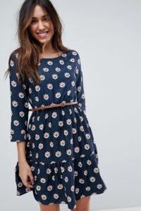 Yumi - Langärmliges Kleid mit Gürtel und Tulpen-Herzmuster - Navy - Farbe:Navy