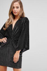 Flounce London - Minikleid aus Samt mit verdrehter Vorderseite in Schwarz mit goldenen Streifen - Schwarz - Farbe:Schwarz