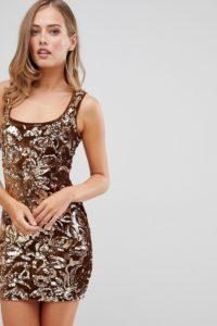 Flounce London - Minikleid mit Paillettenverzierung und Muster in Gold - Gold - Farbe:Gold
