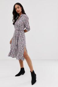AllSaints - Chiara - Gemustertes Midikleid - Violett - Farbe:Violett