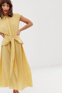 Other Stories - Gelb bedrucktes Midikleid mit gebundener Taille - Mehrfarbig - Farbe:Mehrfarbig