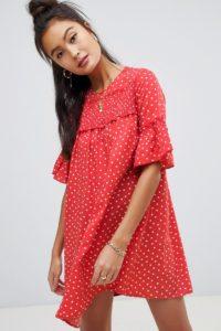 Wednesday's Girl - Hängerkleid mit kleinem Herzmuster - Rot - Farbe:Rot