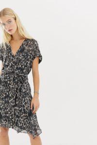 AllSaints - Claria - Wickelkleid mit Leopardenmuster - Grau - Farbe:Grau
