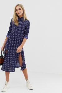 Wednesday's Girl - Gepunktetes Midaxi-Hemdkleid mit Vorderschlitzen - Mehrfarbig - Farbe:Mehrfarbig