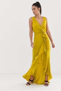 Flounce London - Midaxi-Kleid mit Wickeldesign vorn in Chartreuse - Gelb - Farbe:Gelb